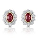 Ruby 6 x 4mm And Diamond 9K Yellow Gold Earrings  B3293 - image 1