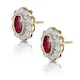 Ruby 6 x 4mm And Diamond 9K Yellow Gold Earrings  B3293 - image 2