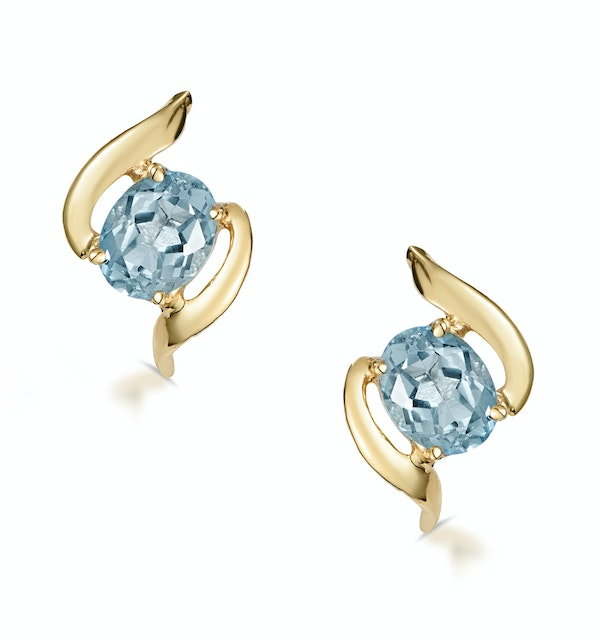 Blue Topaz 5 x 4mm 9K Yellow Gold Earrings - image 1