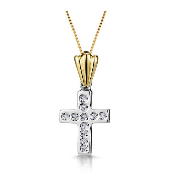 Diamond Studded Cross Necklace in 9K White Gold - image 1