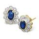 Sapphire 6mm x 4mm And Diamond 9K Yellow Gold Earrings  B3430 - image 1