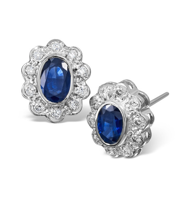 Sapphire 6mm x 4mm And Diamond 18K White Gold Earrings  FEG28-UY - image 1