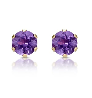 AMETHYST 4MM 9K YELLOW GOLD EARRINGS