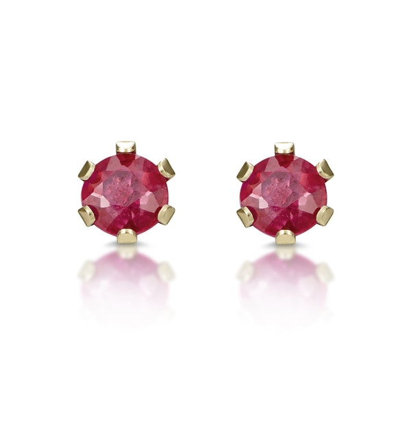 Ruby 3 x 3mm 9K Yellow Gold Earrings - image 1