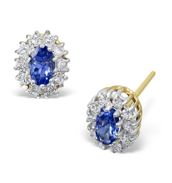 Tanzanite 5 x 3mm And Diamond 9K Yellow Gold Earrings - image 1