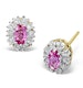 Pink Sapphire 5 x 3mm And Diamond 9K Yellow Gold Earrings - image 1