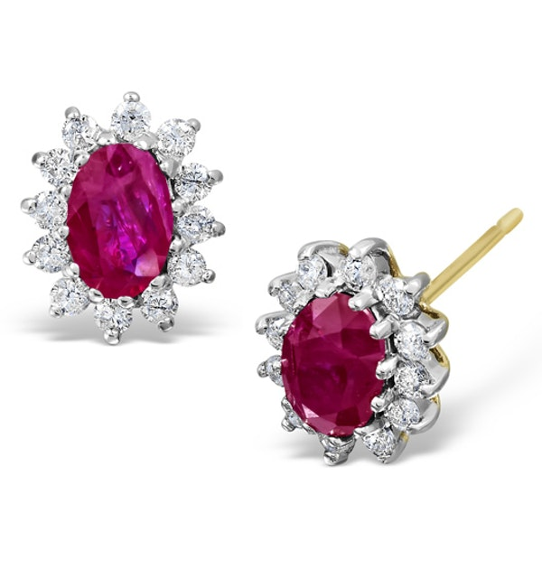 Ruby 6 x 4mm And Diamond 9K Yellow Gold Earrings  B3668 - image 1