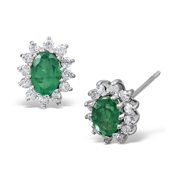 Emerald 6 x 4mm And Diamond 18K White Gold Earrings - image 1