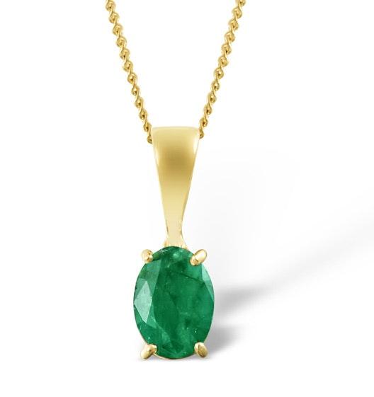 Emerald 7 x 5mm 18K Yellow Gold Pendant
