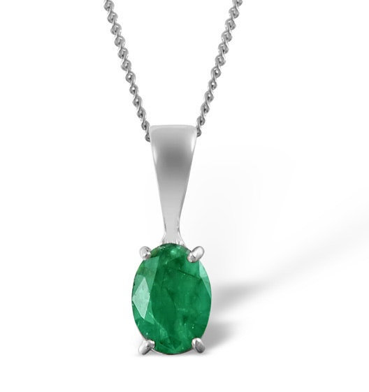 Emerald 7 x 5mm Pendant Set in 9K White Gold