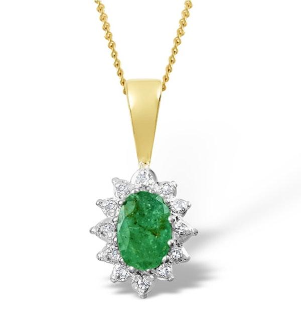 Emerald 0.43CT And Diamond 9K Yellow Gold Pendant - image 1