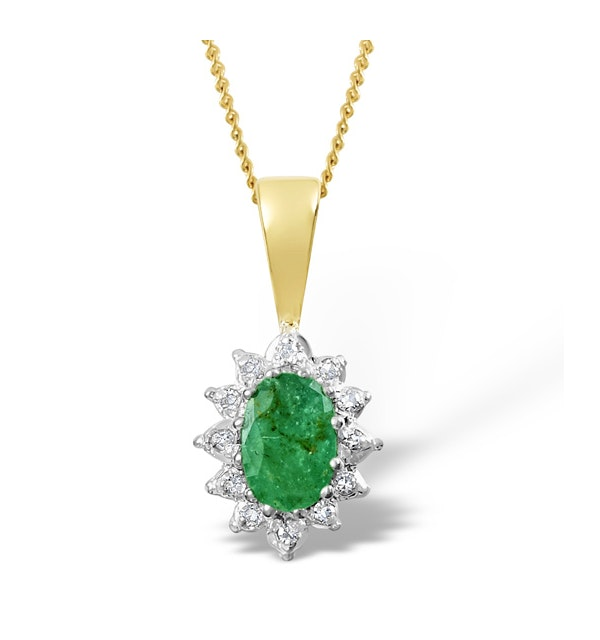 Emerald 0.43CT And Diamond 9K Yellow Gold Pendant - image 1