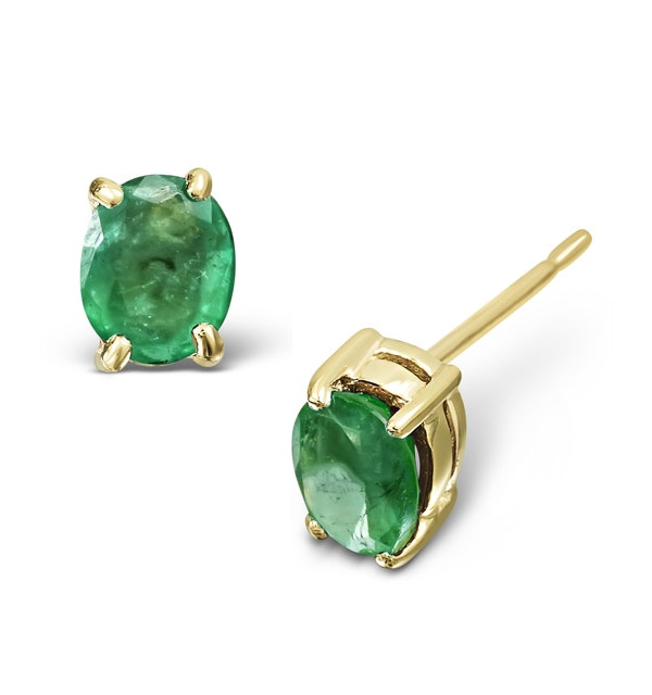 Emerald 5 x 4mm 18K Yellow Gold Earrings - image 1
