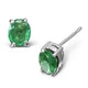 Emerald 5 x 4mm 9K White Gold Earrings - image 1