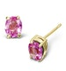 Pink Sapphire 5 x 4mm 18K Yellow Gold Earrings - image 1