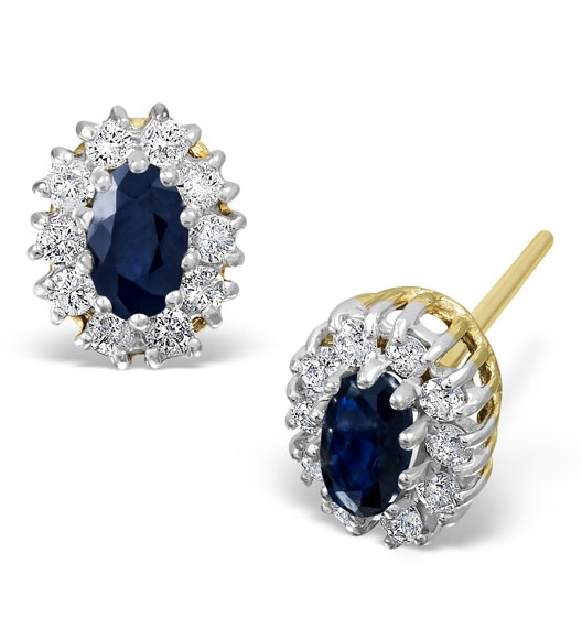 Sapphire 5mm x 3mm And Diamond 9K Yellow Gold Earrings