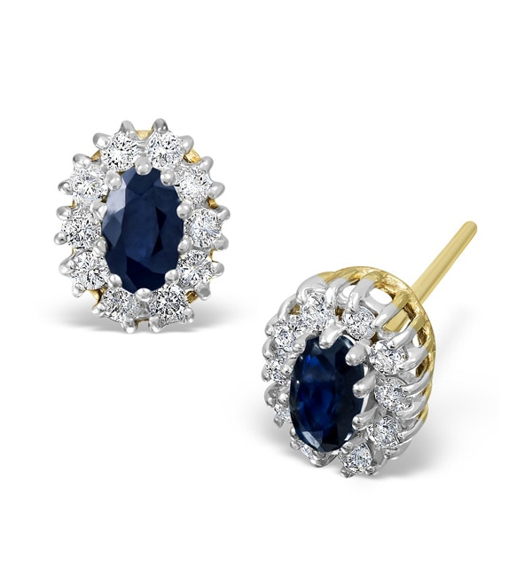 Sapphire 5mm x 3mm And Diamond 9K Yellow Gold Earrings - image 1
