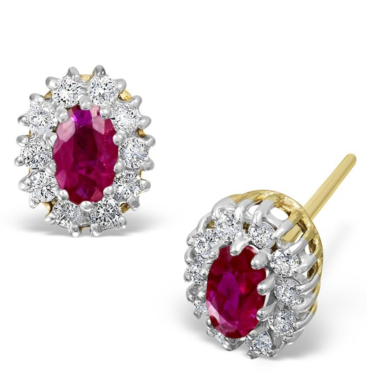 Ruby 5 x 3mm And Diamond 18K Yellow Gold Earrings