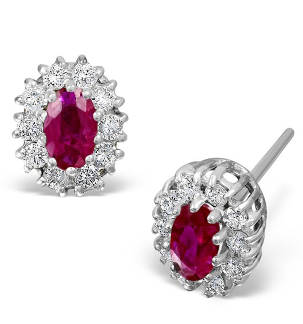 Ruby 0.32CT And Diamond 9K White Gold Earrings - image 1