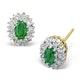 Emerald 5 x 3mm And Diamond 9K Yellow Gold Earrings - image 1