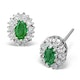 Emerald 5 x 3mm And Diamond 9K Yellow Gold Earrings Item FEG26-GY - image 1