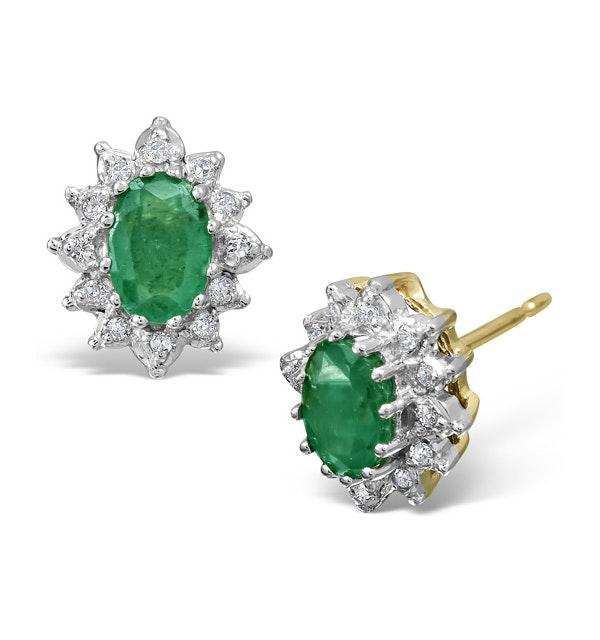 Emerald 6 x 4mm And Diamond 18K Yellow Gold Earrings  FEG25-G - image 1