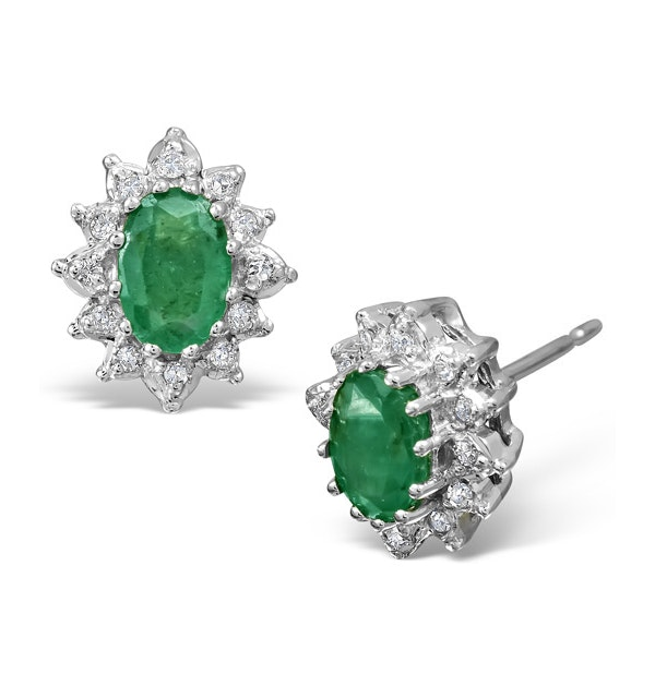 Emerald 6 x 4mm And Diamond 18K White Gold Earrings  FEG25-GY - image 1