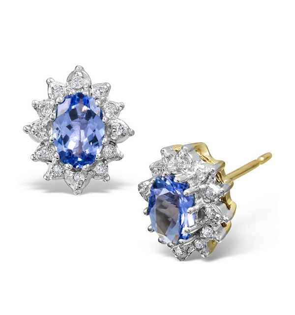 Tanzanite 6 x 4mm And Diamond 18K Gold Earrings  FEG25-V - image 1