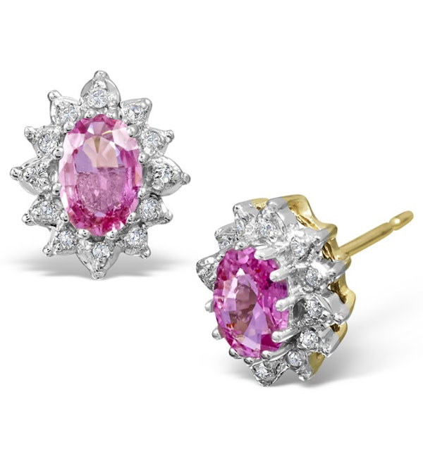 Pink Sapphire 6 x 4mm And Diamond 18K Yellow Gold Earrings - image 1