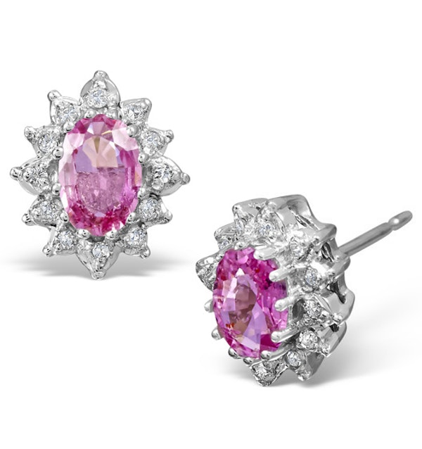 Pink Sapphire 6 x 4mm And Diamond 18K White Gold Earrings - image 1