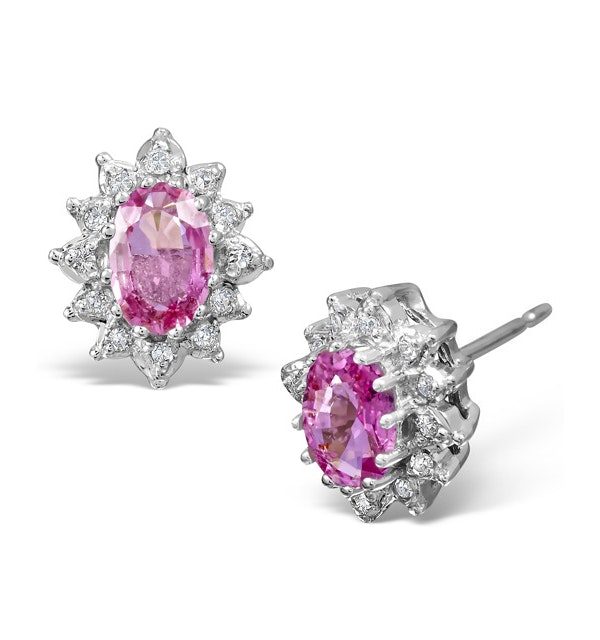 Pink Sapphire 6 X 4mm and Diamond 9K White Gold Earrings - image 1