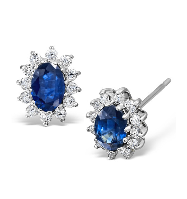 Sapphire 6mm x 4mm And Diamond 18K White Gold Earrings - image 1