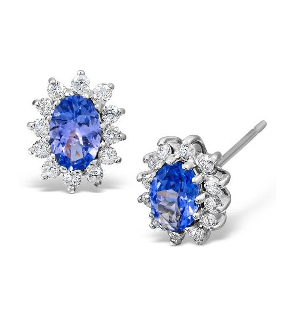 Tanzanite 6 x 4mm And Diamond 18K White Gold Earrings - image 1