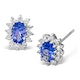 Tanzanite 6 x 4mm And Diamond 9K White Gold Earrings  B3699 - image 1