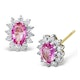 Pink Sapphire 7 X 5mm and Diamond 9K Yellow Gold Earrings - image 1