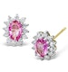 Pink Sapphire 6 x 4mm And Diamond 18K White Gold Earrings  FEG27-RU - image 1