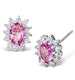Pink Sapphire 7 x 5mm And Diamond 9K White Gold Earrings - image 1
