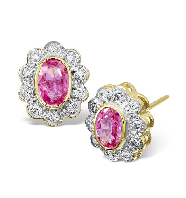 Pink Sapphire 6 X 4mm and Diamond 18K Yellow Gold Earrings Feg28-Ru - image 1