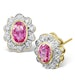 Pink Sapphire 6 x 4mm And Diamond 9K Yellow Gold Earrings  B3696 - image 1