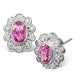 Pink Sapphire 6 x 4mm And Diamond 18K White Gold Earrings  FEG28-RUY - image 1
