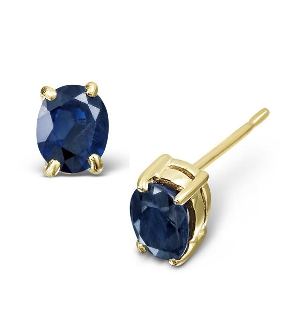 Sapphire 5mm x 4mm 9K Yellow Gold Earrings - image 1