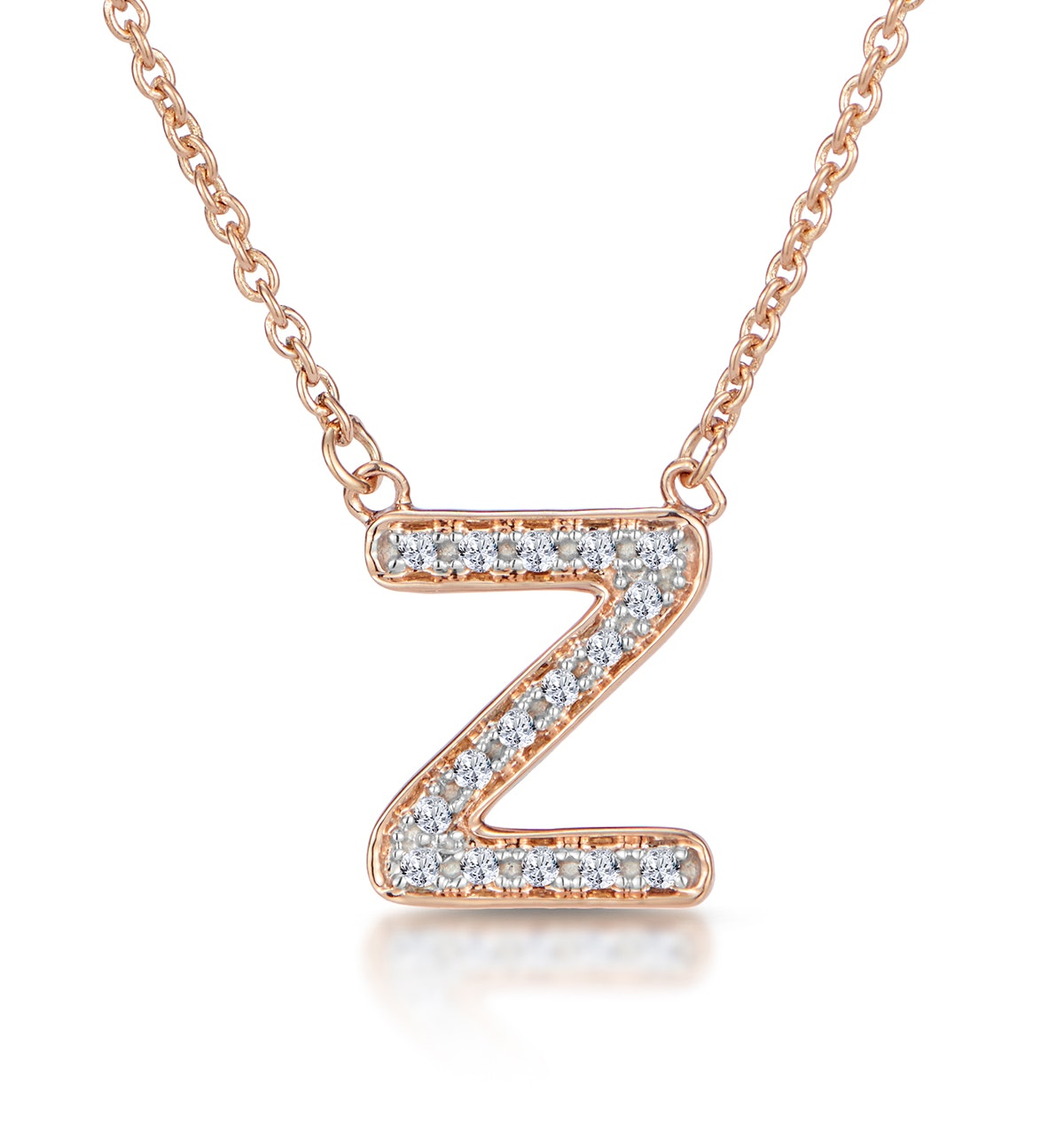 Initial 'Z' Necklace Diamond Encrusted Pave Set in 9K Rose Gold