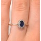 Sapphire 6 x 4mm And Diamond 9K Gold Ring - image 3