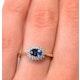 Sapphire 6 x 4mm And Diamond Ring 9K Yellow Gold - image 3