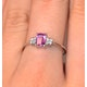 9K White Gold Diamond Pink Sapphire Ring 0.06ct - image 4