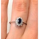 Sapphire 6 x 4mm And Diamond 9K White Gold Ring  A4437 - image 4