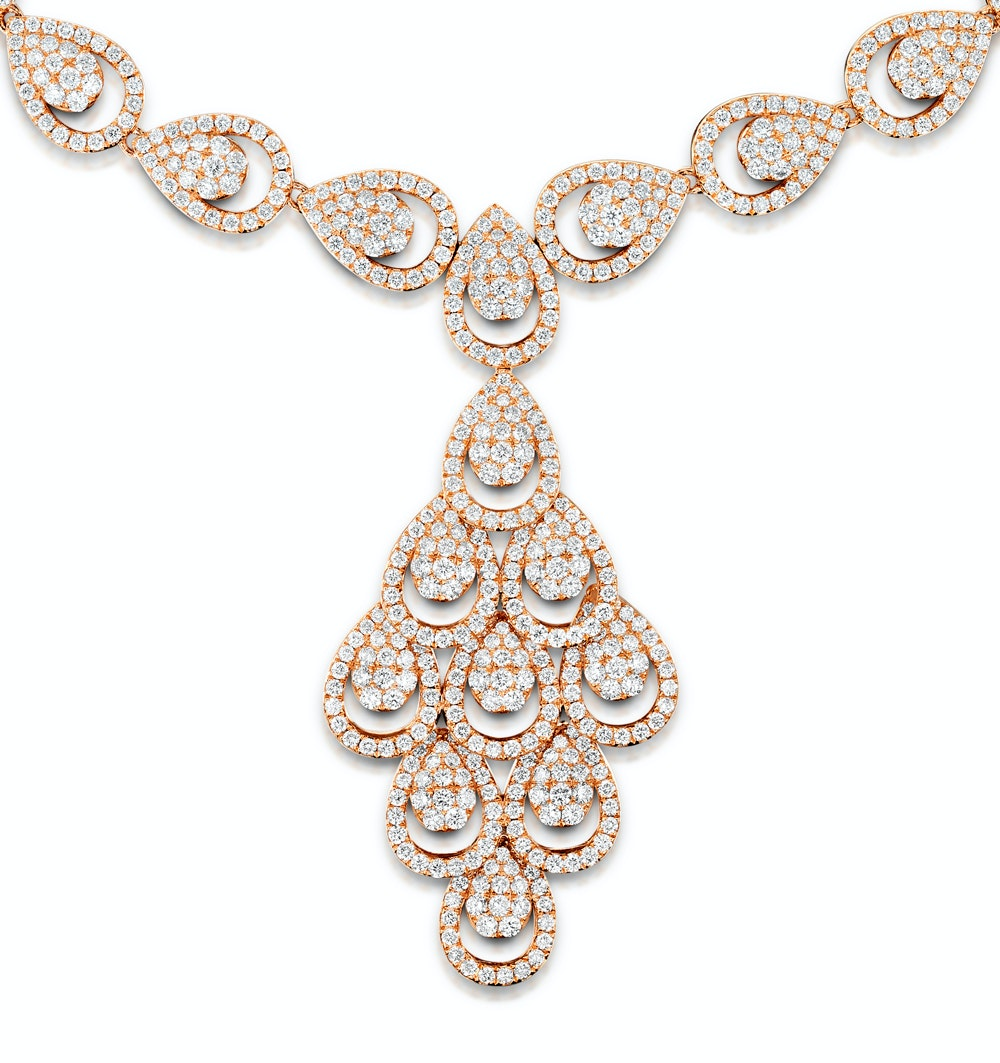 Diamond Necklace Pyrus Chandelier 12.60ct H/Si Diamonds 18K Rose Gold
