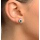 Emerald 0.21CT And Diamond 9K Yellow Gold Earrings - image 3