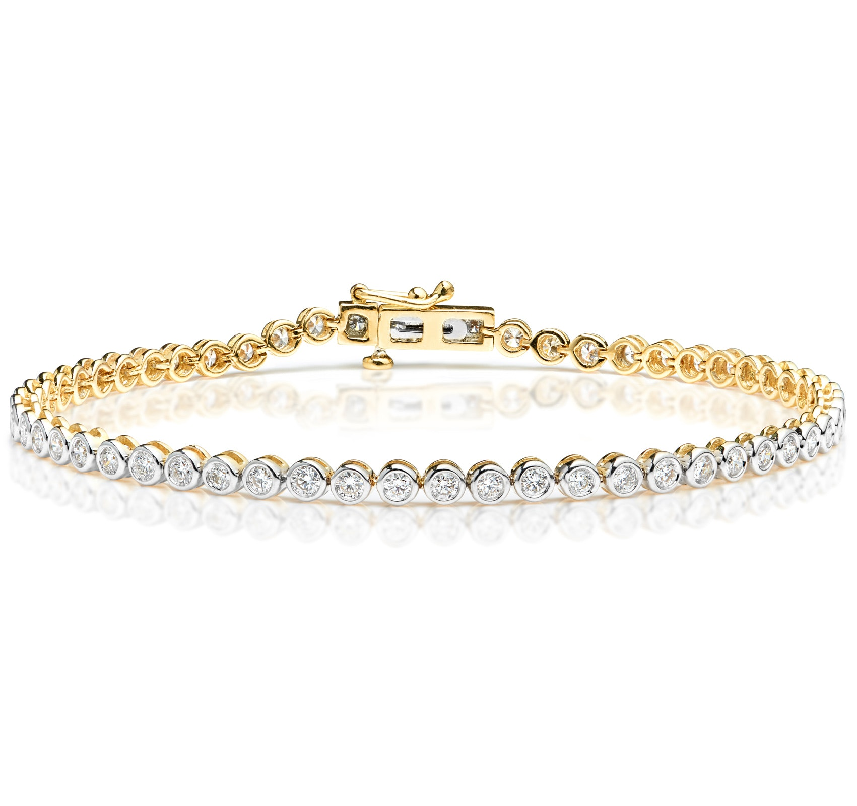Diamond Tennis Bracelet 2.00ct H/Si Rubover Set in 18K Gold