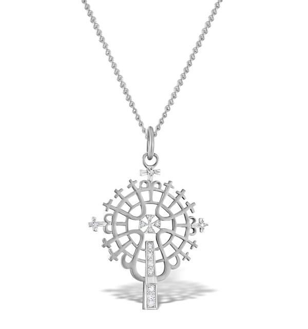 Diamond 0.07ct and 9K White Gold Pendant - RTC-G3613Y - image 1